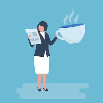 Onderneemster die koffie drinkt en een krant leest