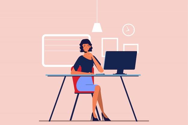 Onderneemster die met een laptop computer bij bureau werkt. mensen uit het bedrijfsleven karakter.
