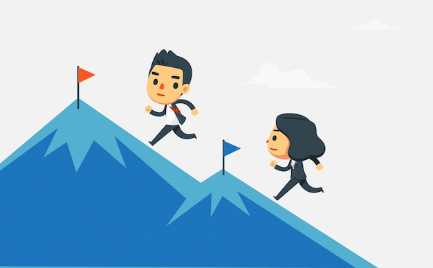 Onderneemster en zakenman die de berg lanceren.