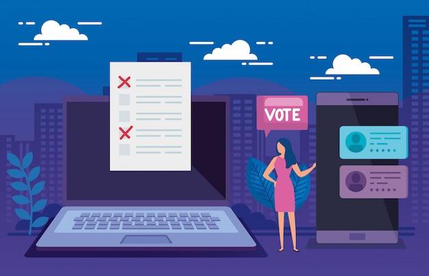 Onderneemster met laptop en smartphone voor stem