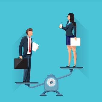 Onderneemster op schalen met zakenman
