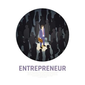 Ondernemer isometrische samenstelling verlichte zakenman met werkmap en omliggende silhouetten van mensen