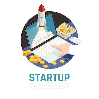 Ondernemer met geld tijdens startproject op laptop isometrische ronde samenstelling