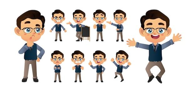 Ondernemer met verschillende poses vector