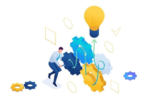 Ondernemer ontwikkelt een bedrijfsidee verdraait versnellingen. een bedrijfsidee creëren. 3d isometrisch. concept voor webdesign.