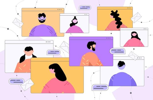 Ondernemers bespreken tijdens videogesprek in webbrowser windows virtuele conferentie