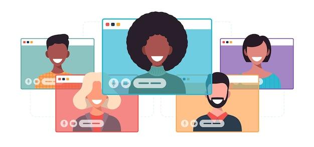 Ondernemers chatten tijdens videogesprek. computer venster communicatie online conferentie concept