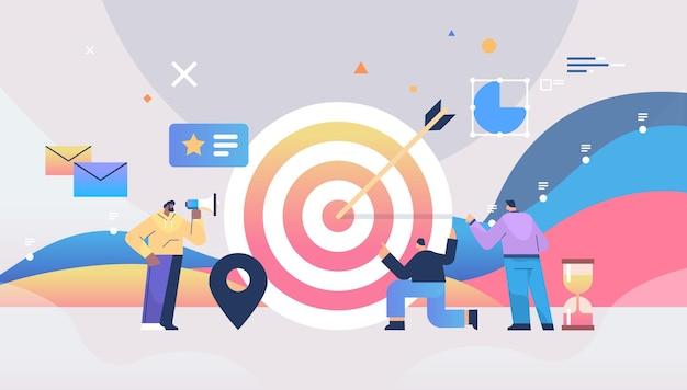 Ondernemers gebogen in winst doel bereiken doel succesvol teamwerk concept volledige lengte horizontale vector illustratie