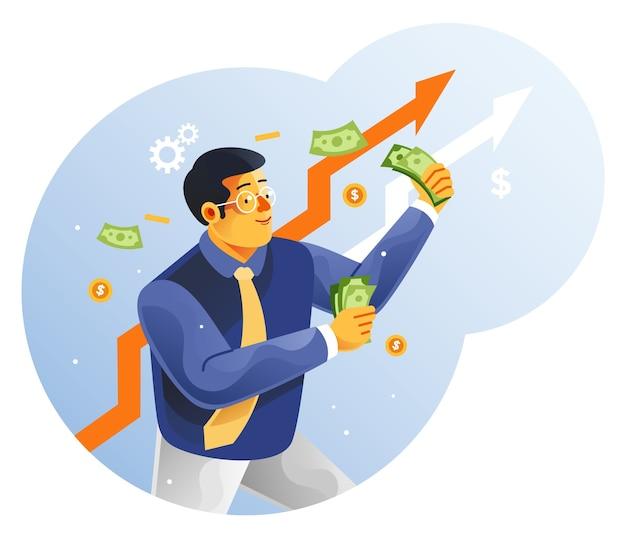 Ondernemers houden geld vast. grote winst