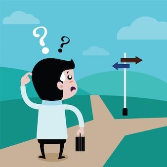 Ondernemers kiezen voor de toekomst een pad, vector cartoon