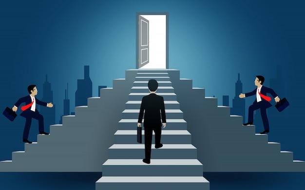 Ondernemers lopen de trap op naar de deur. bestemming, overwinning naar succes concept met idee. leiderschap concept. ladder naar succes bedrijf. cartoon vectorillustratie