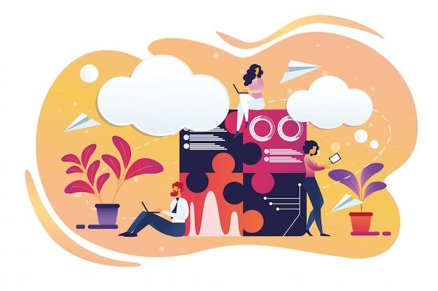 Ondernemers mannelijke en vrouwelijke tekens werken. Premium Vector
