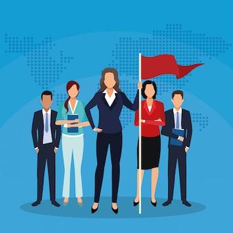 Ondernemers markeren team wereld succes startend bedrijf