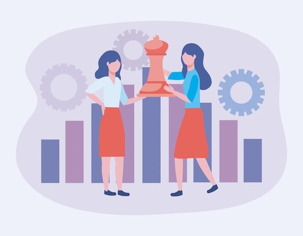 Ondernemers met koningin schaken en statistieken bar met versnellingen