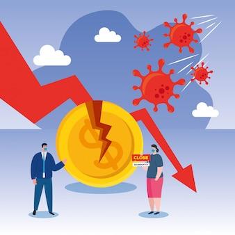 Ondernemers met maskers en afname pijl van faillissement