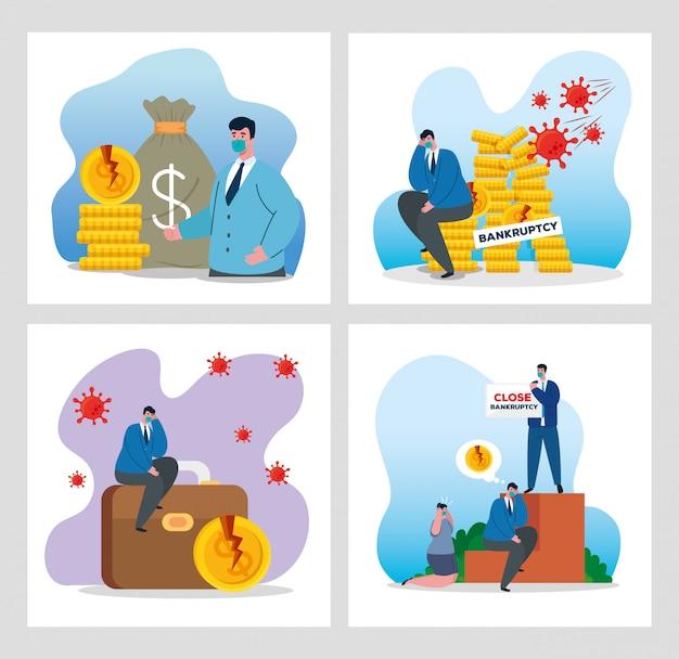 Ondernemers met maskers en geld icon set van faillissement