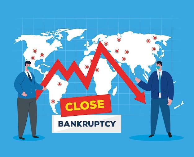 Ondernemers met maskers en kaart van faillissement