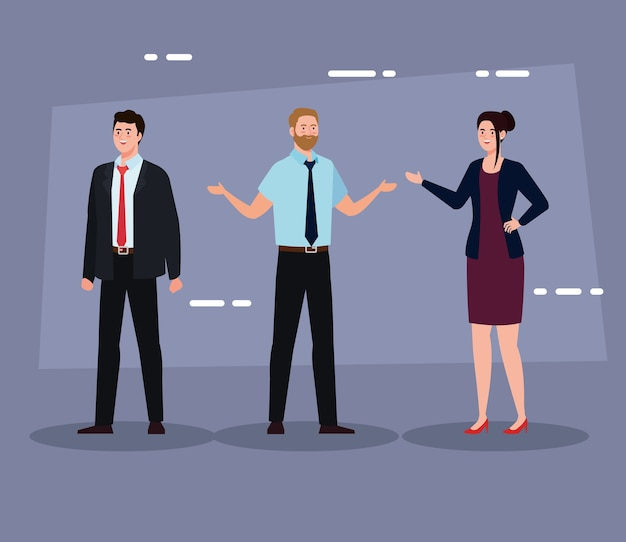 Ondernemers met pak op paarse achtergrond ontwerp, man vrouw bedrijfsbeheer corporate baan beroep en werknemer thema