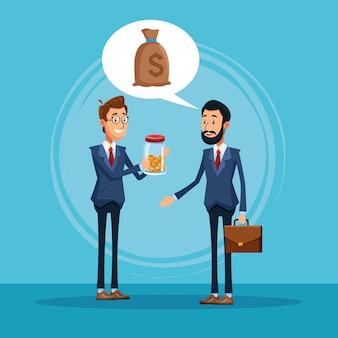 Ondernemers praten over business cartoon