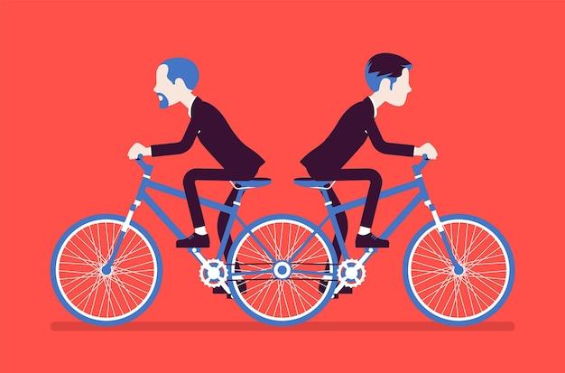 Ondernemers rijden duwen me trek je tandem fiets. mannelijke ambitieuze managers die het oneens zijn, niet kunnen samenwerken op verschillende manieren. vectorillustratie, gezichtsloze karakters