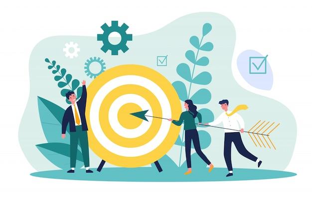 Ondernemers rijden pijl naar doel