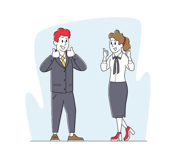 Ondernemers tekens overeenkomst, partnerschap concept. tevreden zakenpartners man en vrouw duimen opdagen