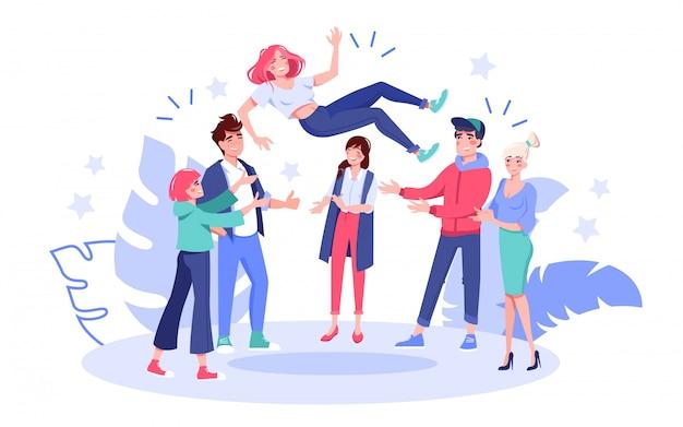 Ondernemers vieren overwinning. succesvolle gelukkig manager team overgeven in de lucht gooien vrouw werknemer collega felicitatie geven. succes viering bedrijfsconcept