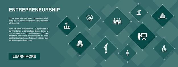 Ondernemerschap banner 10 pictogrammen concept. investeerder, partnerschap, leiderschap, teambuilding eenvoudige pictogrammen