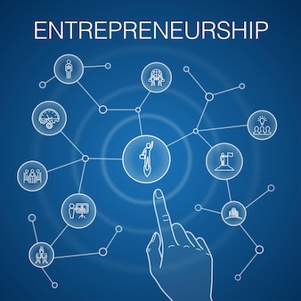 Ondernemerschap concept, blauwe achtergrond. pictogrammen voor investeerder, partnerschap, leiderschap, teambuilding