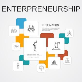 Ondernemerschap infographic 10 lijn pictogrammen sjabloon. investeerder, partnerschap, leiderschap, teambuilding eenvoudige pictogrammen