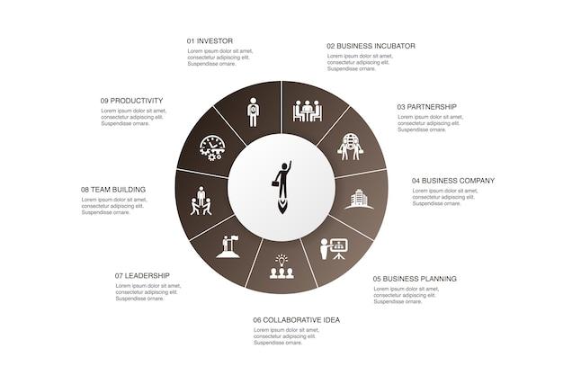 Ondernemerschap infographic 10 stappen cirkel ontwerp. investeerder, partnerschap, leiderschap, teambuilding eenvoudige pictogrammen