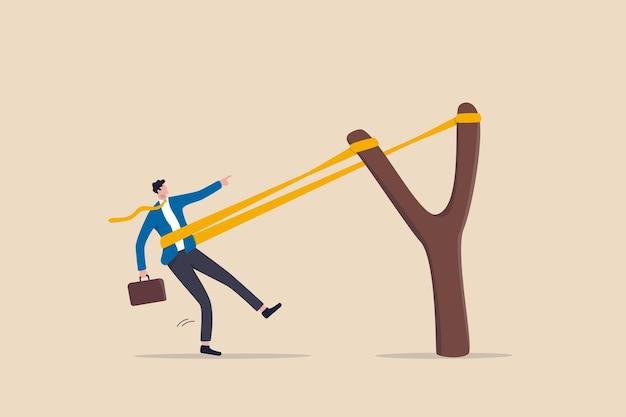Ondernemerschap klaar om nieuw project of werkverbetering te lanceren, loopbaanontwikkeling te stimuleren, bedrijfsgroeiconcept te versnellen, dappere zakenman trekt elastiek klaar om katapultvlucht te lanceren.