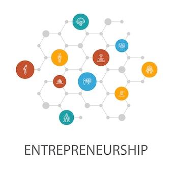 Ondernemerschap presentatiesjabloon, omslaglay-out en infographics.investeerder, partnerschap, leiderschap, teambuilding pictogrammen