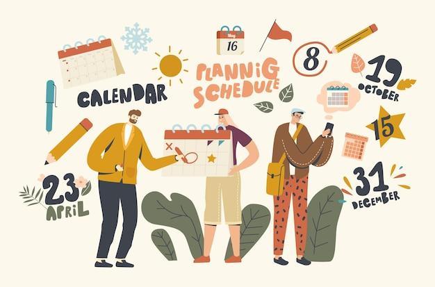 Ondernemerskarakters gebruiken kalender, planning van zaken, levens- en werkevenementen, zakelijke bijeenkomsten, betalingen en belangrijke berichten, tijdbeheer. lineaire mensen vectorillustratie