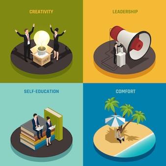 Ondernemerssamenstelling ingesteld met creativiteit leiderschap zelfeducatie en comfort