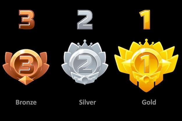 Onderscheidt gouden, zilveren en bronzen medailles voor gui game. beloont 1e, 2e en 3e plaats. sjabloon award.