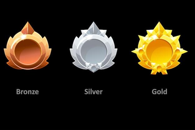 Onderscheidt gouden, zilveren en bronzen medailles voor gui game. gouden sjabloonprijs