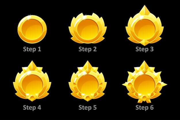 Onderscheidt medailles voor gui game. gouden sjabloon award 6 stap voor stap.