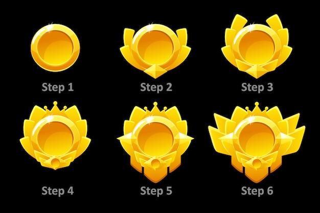 Onderscheidt medailles voor gui game. gouden sjabloonprijs in verschillende versies