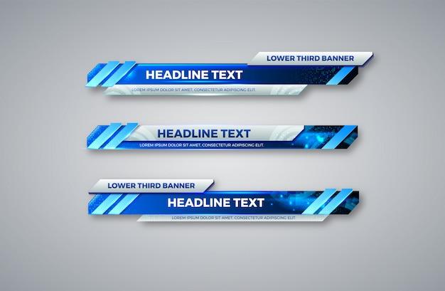 Onderste derde banner. tv, bars, set. streaming video. brekend nieuws, sportnieuws, interface, ontwerpsjabloon