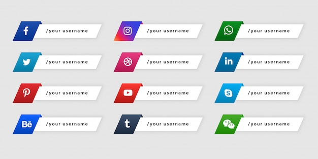 Onderste derde sociale media-banners in knopstijl