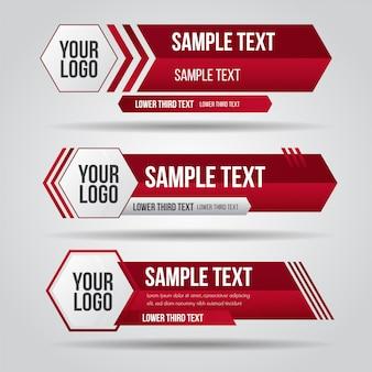 Onderste derde tv rode ontwerpsjabloon modern eigentijds. set van banners bar scherm uitzending bar