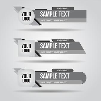Onderste derde wit, zwart en grijs design tv-sjabloon modern eigentijds. set van banners bar