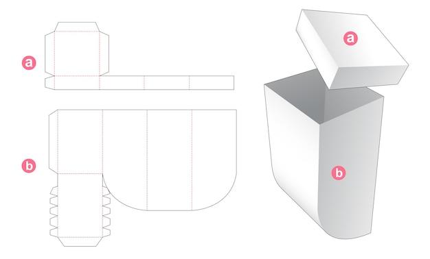 Onderste een ronde hoekdoos met gestanst sjabloon van het deksel Premium Vector