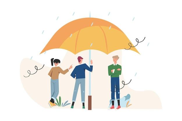 Ondersteun elkaar onder bescherming staan onder paraplu