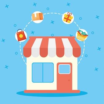Ondersteun lokale bedrijfscampagnes met illustratieontwerp voor winkelgebouwen
