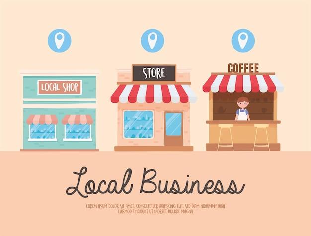 Ondersteun lokale bedrijven, promoot winkelen in de illustratie van kleine lokale winkels