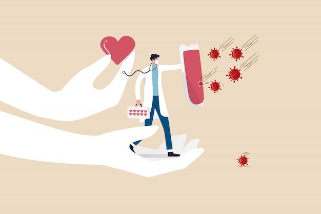 Ondersteun medisch personeel, arts, arts met liefde om covid-19 coronavirus-uitbraakverspreidingsconcept te bestrijden, dokterheld vol steun en liefde die schild vasthoudt om covid-19-viruspathogeen te beschermen.