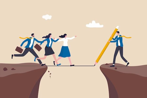 Ondersteun of help werknemer om vooruitgang te boeken en het bedrijfsdoel te bereiken, leiderschapsoplossing om het obstakelconcept te overwinnen, zakenmanmanager trekt een lijn als een brug om teamleden te helpen de klif over te steken.