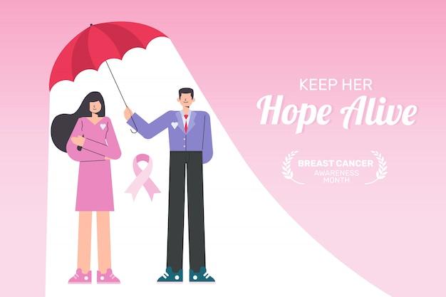 Ondersteunende bestemmingspagina voor borstkanker maand